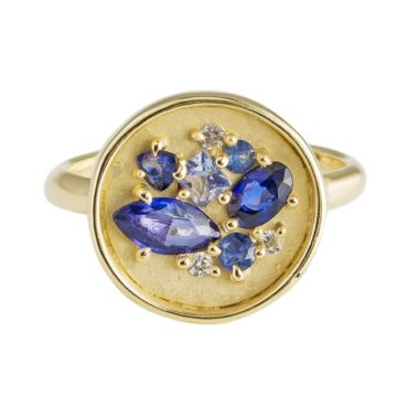 tomfoolery: Blue Sapphire & 10 Carat Yellow Gold Ring  by Atelier Narce