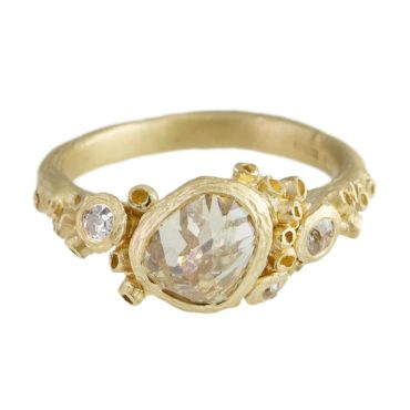 tomfoolery: OOAK Irregular Champagne Diamond 14ct Yellow Gold Ring