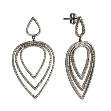 tf Collective, Diamond & Black Rhodium-Plated Silver Tear Drop Earrings, Tomfoolery