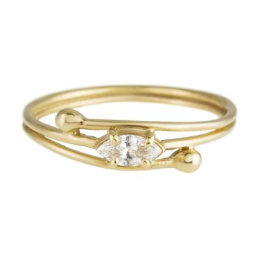 Yen, Curve Marquise Diamond & 9ct Yellow Gold Ring, Tomfoolery