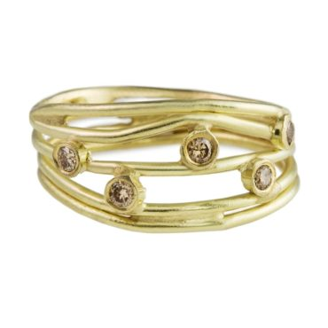 Tomfoolery; 18ct Yellow Gold With Champagne Diamonds Wrap Ring, Shimara Carlow