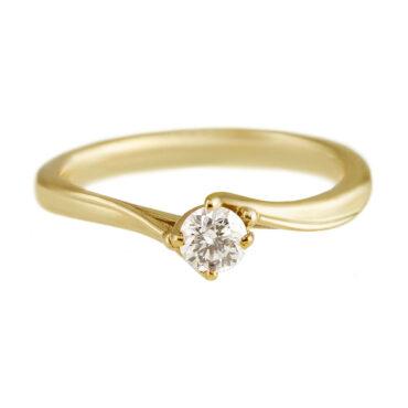 Yen, Twist Diamond & 9ct Yellow Gold Ring, Tomfoolery