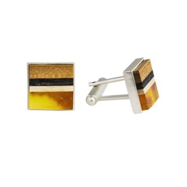 tomfoolery:  Square Amber & Wood with Silver Cufflinks by Amberwood