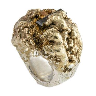 Maud Traon, Green Tourmaline Silver & Gold Chunky Ring, Tomfoolery