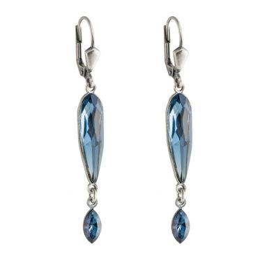 tomfoolery Long Oval Crystal Double Drop Earrings