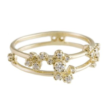 n+a New York, 14ct Yellow Gold Double Band Cluster Ring, Tomfoolery