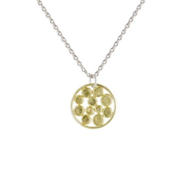 Tomfoolery, Emily Collins, Small 18ct Gold & Silver Circle Cluster Pendant Necklace