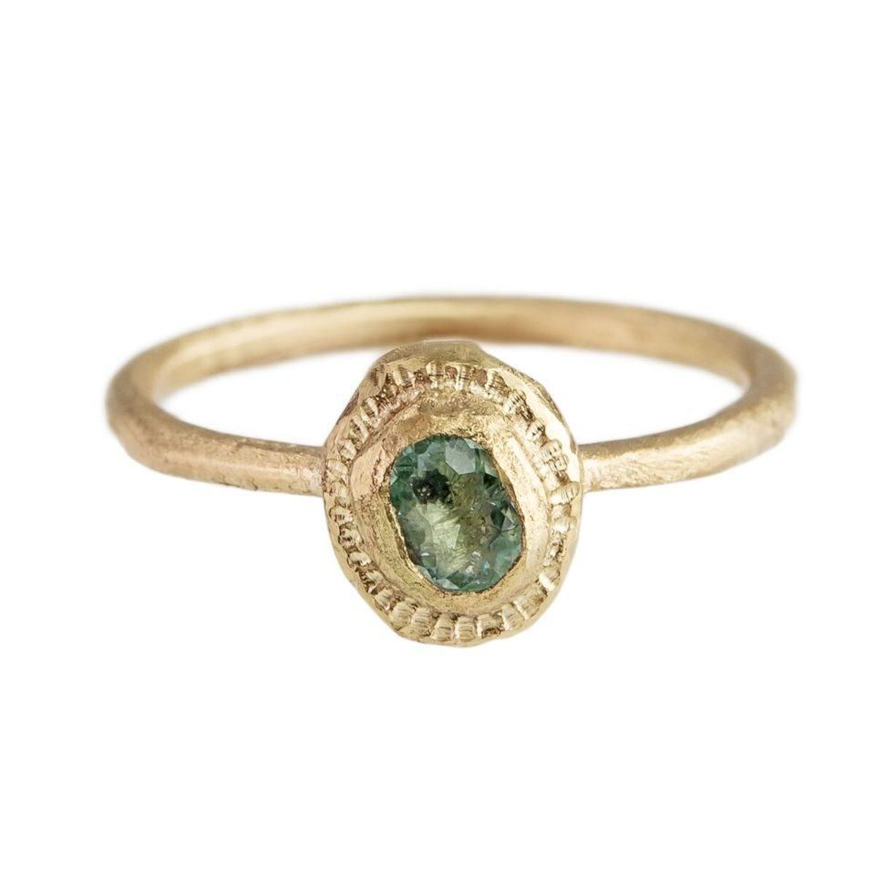Tomfoolery,  'She Sits by the Ocean' 14ct Yellow Gold and Paraiba Tourmaline Ring, Franny E