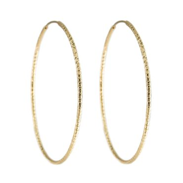 Tomfoolery, Textured Large Gold Plated Silver Hoop, Tf Hoops