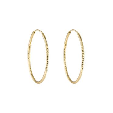 Tomfoolery, Textured Midi Gold Plated Silver Hoop, Tf Hoops