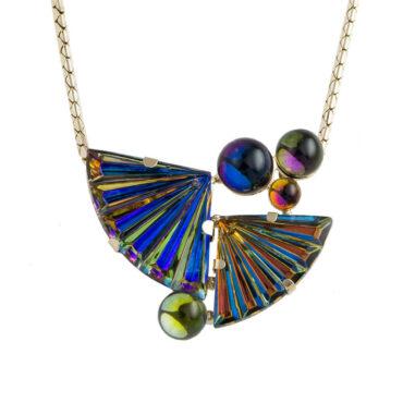 Philippe Ferrandis, Blue Crystal Fan & Bubble Necklace, Tomfoolery