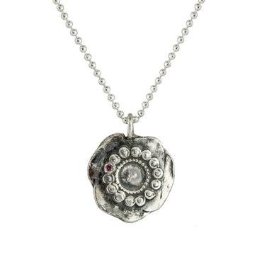 Monica Lara, Pink Sapphire & Silver Dot Wheel Necklace, Tomfoolery
