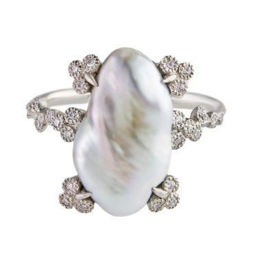 Rico, South Sea Pearl & Diamond Platinum Ring, Tomfoolery