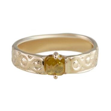 Monica Lara, Orange Diamond & 14ct Yellow Gold Textured Ring, Tomfoolery