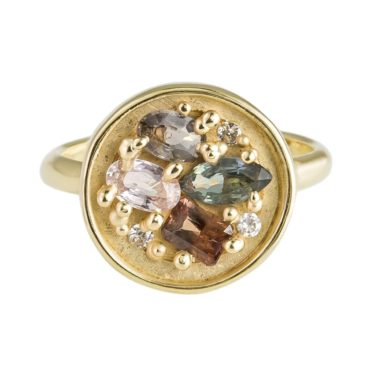 tomfoolery: Mixed Colour Sapphire, Diamond & 10 Carat Yellow Gold Ring  by Atelier Narce