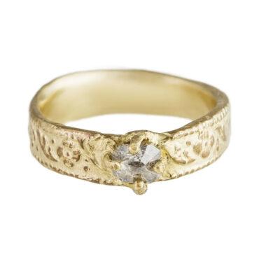 Monica Lara, Grey Diamond & 14ct Yellow Gold Ring, Tomfoolery
