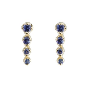 n+a New York, Blue Sapphire & 14ct Yellow Gold Icicle Earrings, Tomfoolery