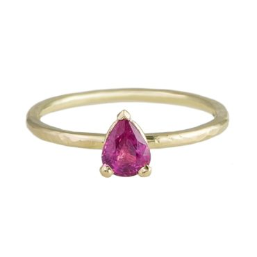 tf one, tomfoolery, 18ct Yellow Gold Pear Pink Sapphire Claw Set Ring