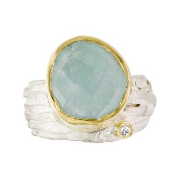 Tomfoolery; Aquamarine & Silver Wrap Ring with Diamond, Shimara Carlow