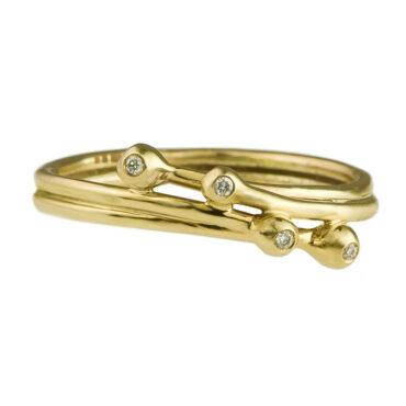 Yen, Entwine Four Diamond & 9ct Yellow Gold Ring, Tomfoolery