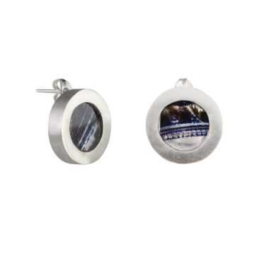 Ruth Brown, Oxidised Silver Round Studs, Tomfoolery