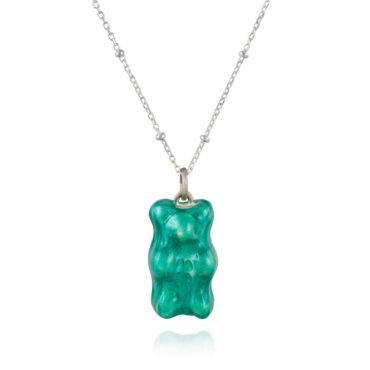 Maggoosh, Iridescent Mint Gummy Bear Necklace, Tomfoolery