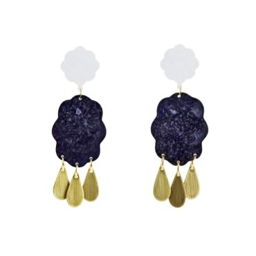 We Dream In Colour, Plum 'Raincloud' Drop Earrings, Tomfoolery