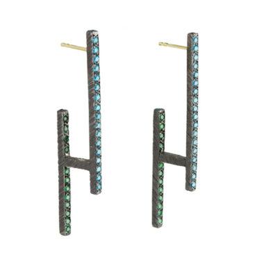 Maria Frantzi, Blue & Green Zircon Oxidised Silver Drop Earrings, Tomfoolery