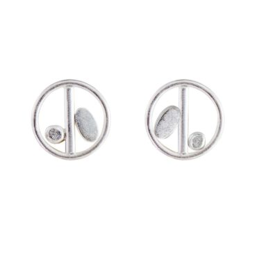 Tomfoolery, Emily Collins, Multi Shape Oval, Circle & Line Silver Stud Earrings