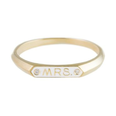 Nora Kogan, Diamond & Enamel 14ct Yellow Gold 'Mrs' Ring, Tomfoolery
