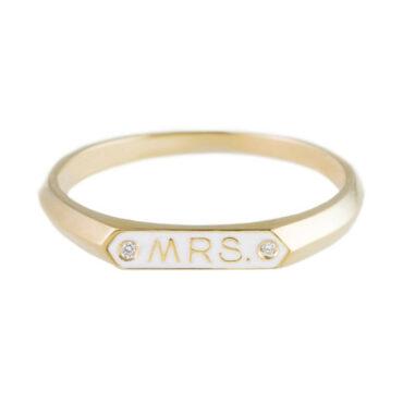 Nora Kogan, Diamond & Enamel 14ct Yellow Gold 'Mrs' Ring, Tomfoolery