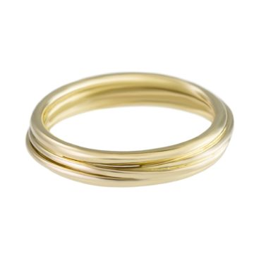 Yen, 18ct Yellow Gold Wrapped Wire Wedding Ring, Tomfoolery