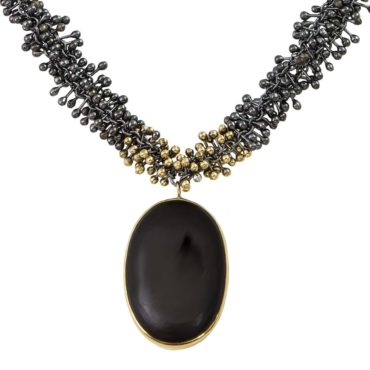 Yen, Oxidised Silver & 9ct Yellow Gold Druzy Necklace, Tomfoolery