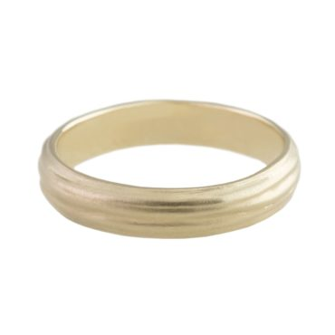 n+a New York, Lined Satin 14ct Yellow Gold Wedding Ring, Tomfoolery