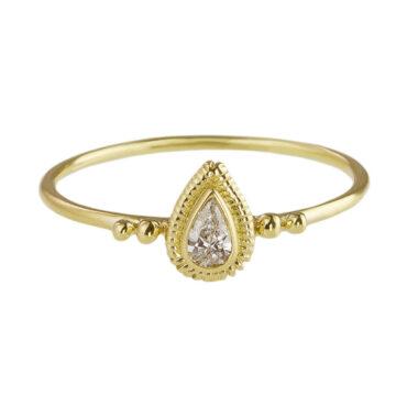 Helene Turbe, 18ct Yellow Gold & Pear Cut Diamond Mini Solitaire Ring, tomfoolery