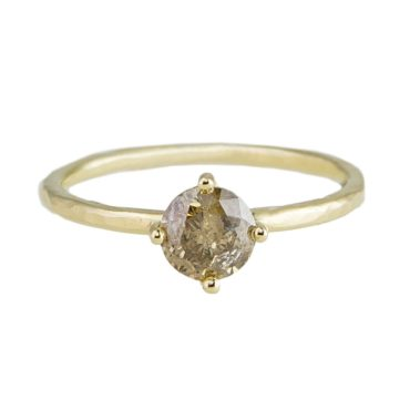 tf one, tomfoolery, 18ct Yellow Gold Brown Diamond Claw Set Ring