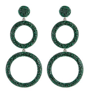 tomfoolery Circular Triple Drop Crystal Earrings