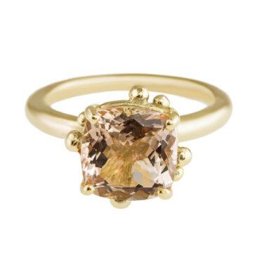 Tomfoolery Yen Cushion Cut Morganite & 9ct Yellow Gold Ring