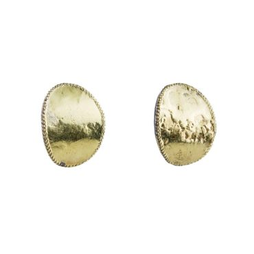 Rusty Thought, Disc Studs in 18ct Yellow Gold & Oxidised Silver, Tomfoolery