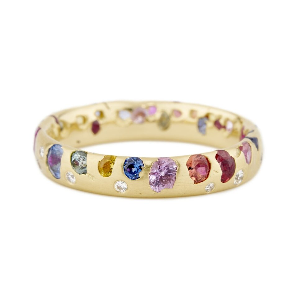 Polly Wales, Rainbow Sapphire Narrow Confetti Ring with Diamonds, Tomfoolery