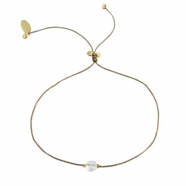 Moonstone, Textile and Gold Plated Bracelet , tomfoolery, by johanne