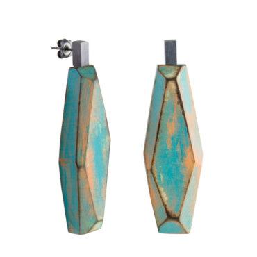 tomfoolery, Sea Green and Orange Faceted Wood Earrings, cristina mani