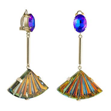 Philippe Ferrandis, Crystal Fan Clip Earrings, Tomfoolery