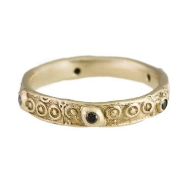 Monica Lara, Black Diamond & 14ct Yellow Gold Eternity Ring, Tomfoolery