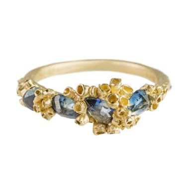 OOAK 9ct Yellow Gold Bi-Colour Sapphire Ring