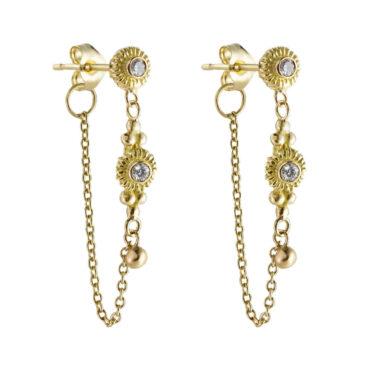 Helene Turbe, 18ct Gold Diamond Long Chain Earring, Tomfoolery