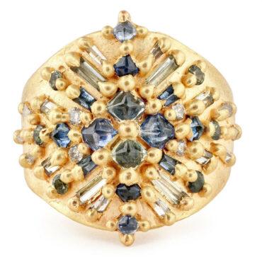 Polly Wales, Luna Sapphire & Diamond Shield Ring, Tomfoolery