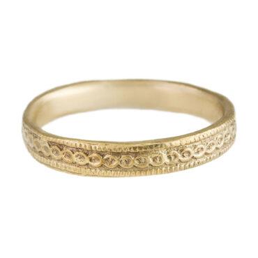Monica Lara, 14ct Yellow Gold Chain Texture Wedding Ring, Tomfoolery
