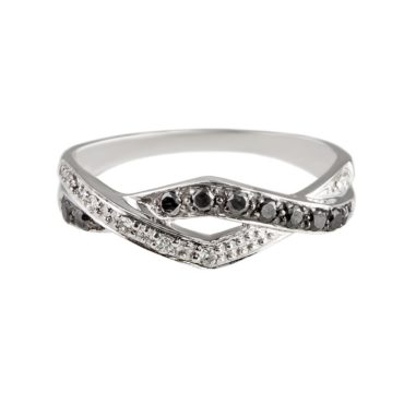 tf Collective, Black & White Diamond 9ct White Gold Band, Tomfoolery