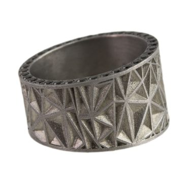 Maria Frantzi, One of a Kind 'Silver, White Diamond & Black Spinel' Art Ring, Tomfoolery